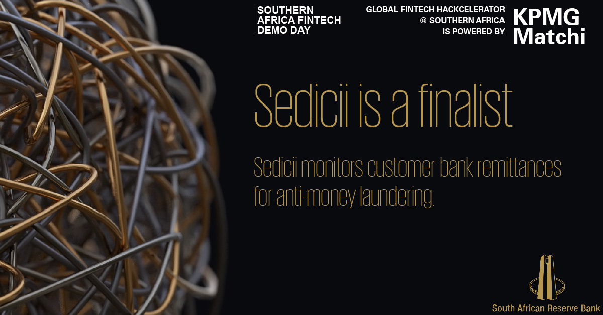 Sedicii is a Finalist for KPMG Matchi Global Fintech Hackcelerator South Africa 2019